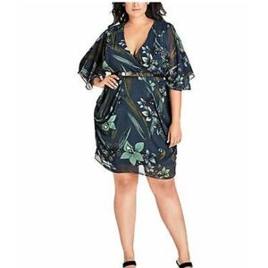 City Chic Moody Floral Wrap Dress